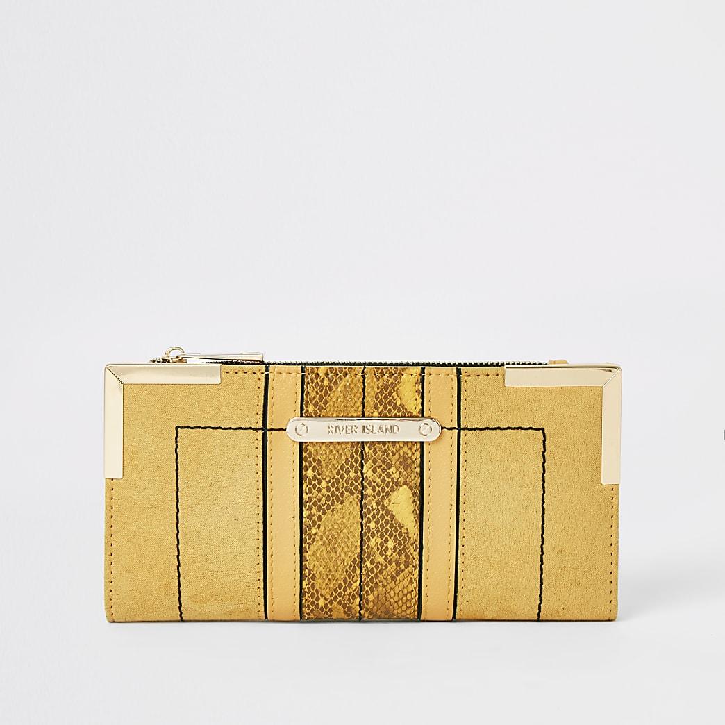 Yellow suedette foldout metal corner purse