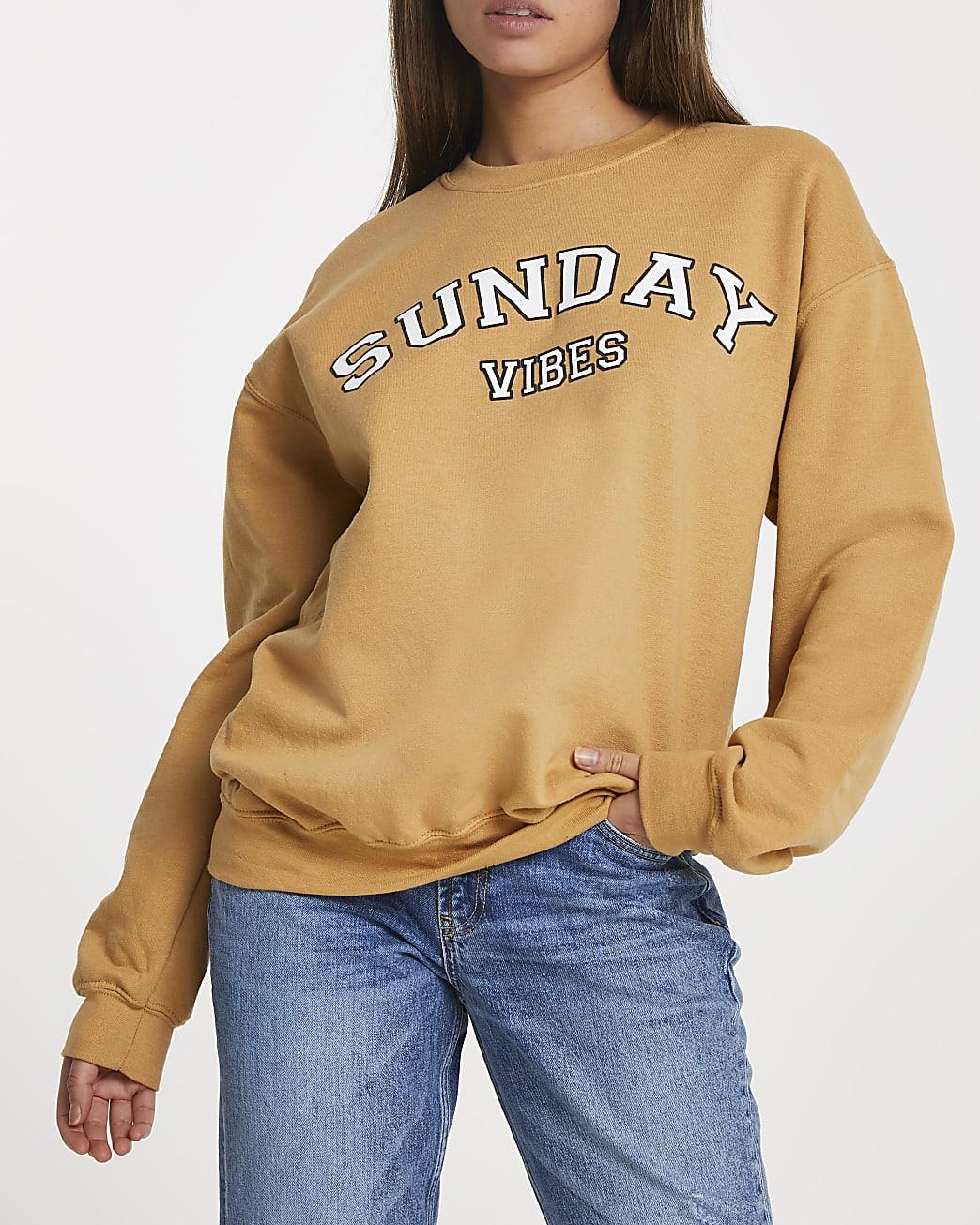Yellow 'Sunday Vibes' long sleeve sweatshirt