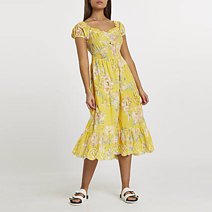 Yellow sweet heart neck floral midaxi dress