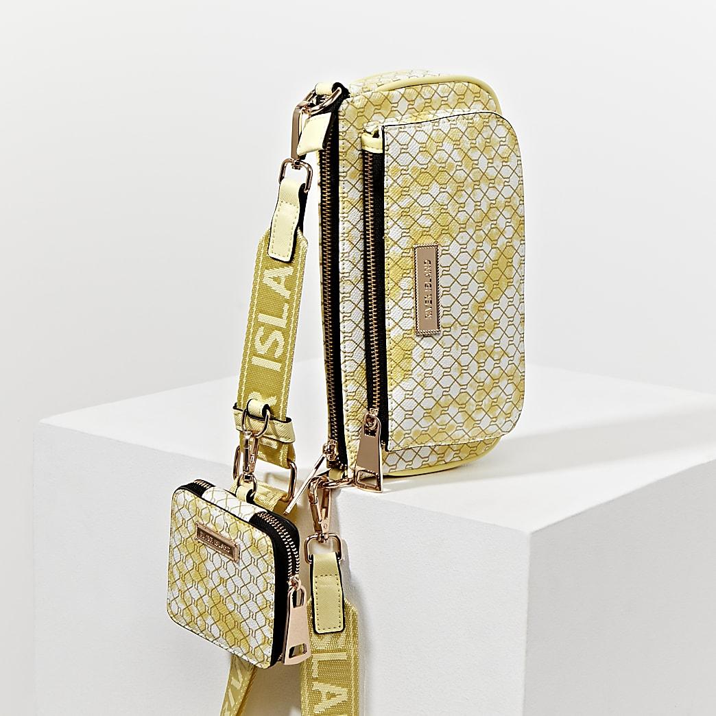 Yellow tie dye double pouchette bag