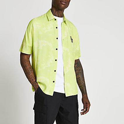 Yellow tie dye LA back print shirt