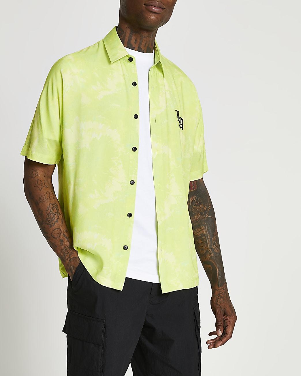 Yellow tie dye LA print short sleeve shirt