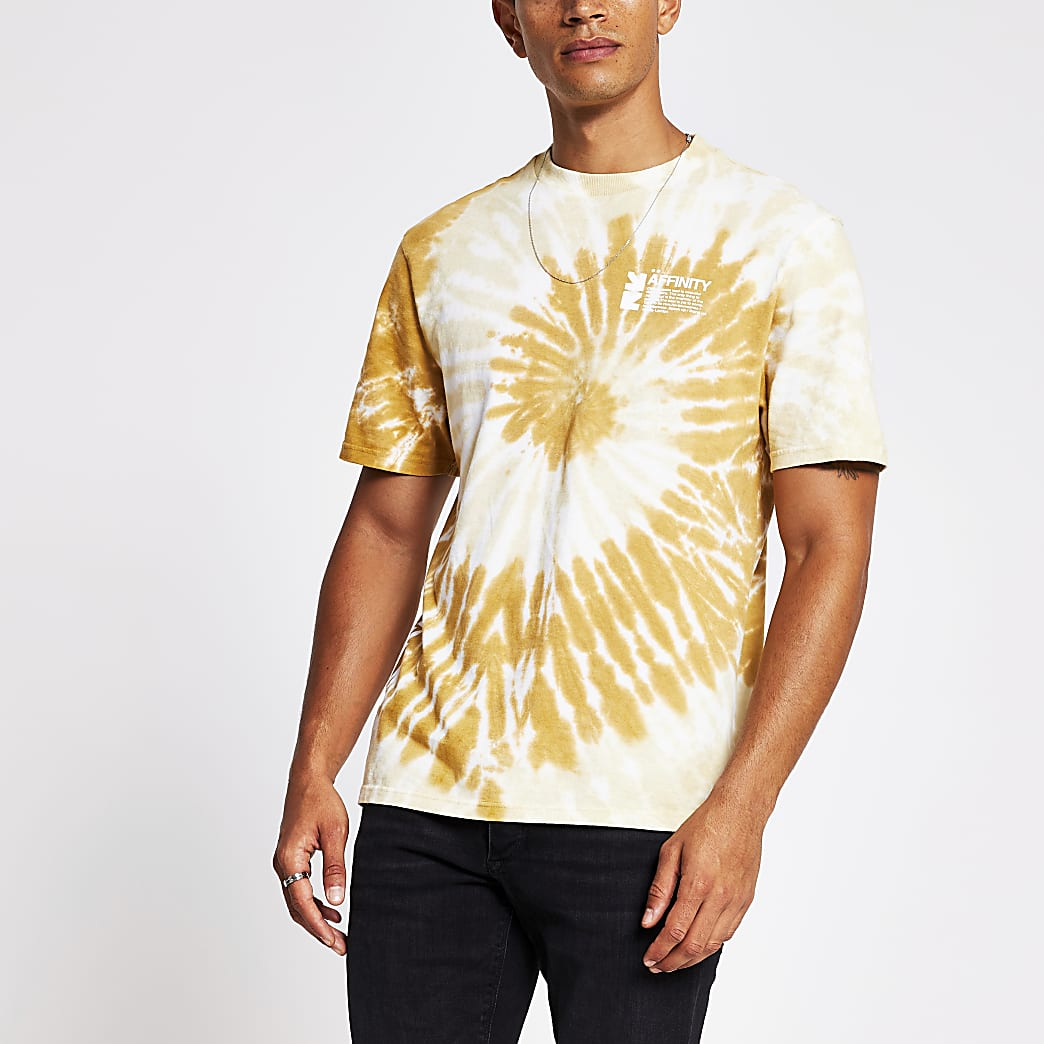 Yellow tie dye slim fit T-shirt