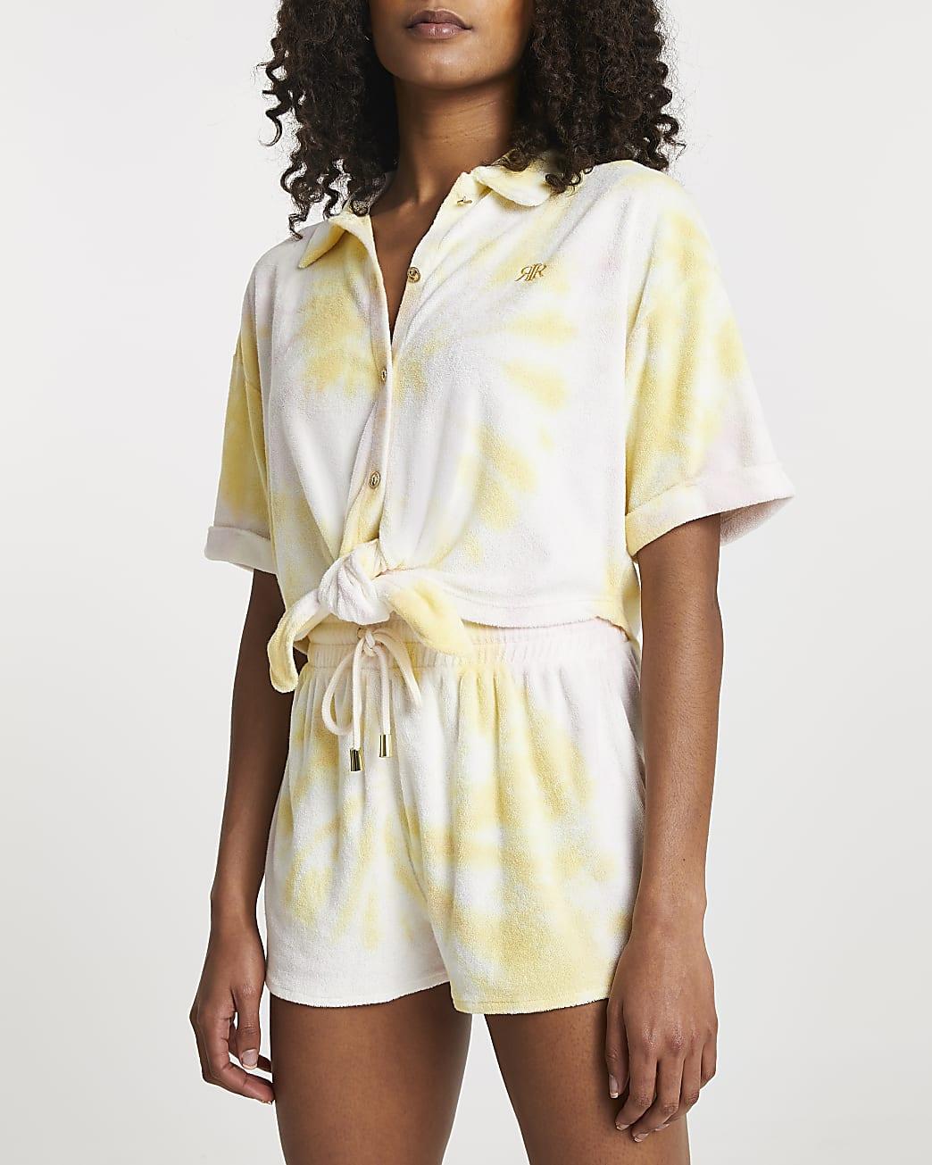 Yellow tie dye towelling runner shorts