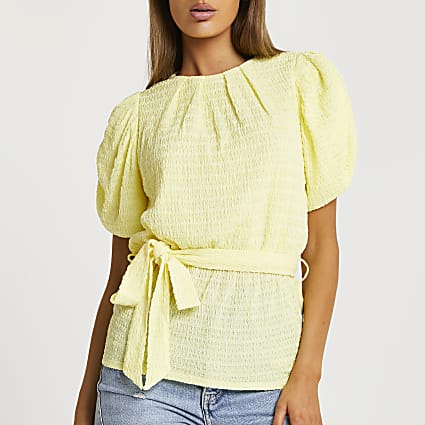 Yellow tie front puff sleeve top