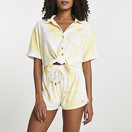 Yellow tie front towelling shirt