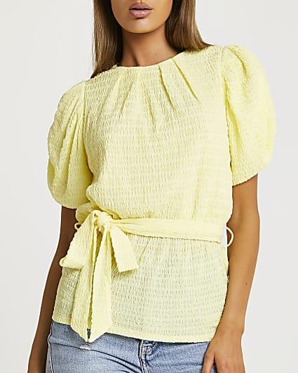 Yellow tie waist puff sleeve top