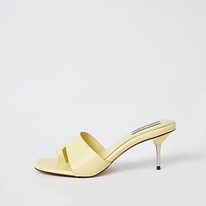 Yellow toe loop heeled mule sandals