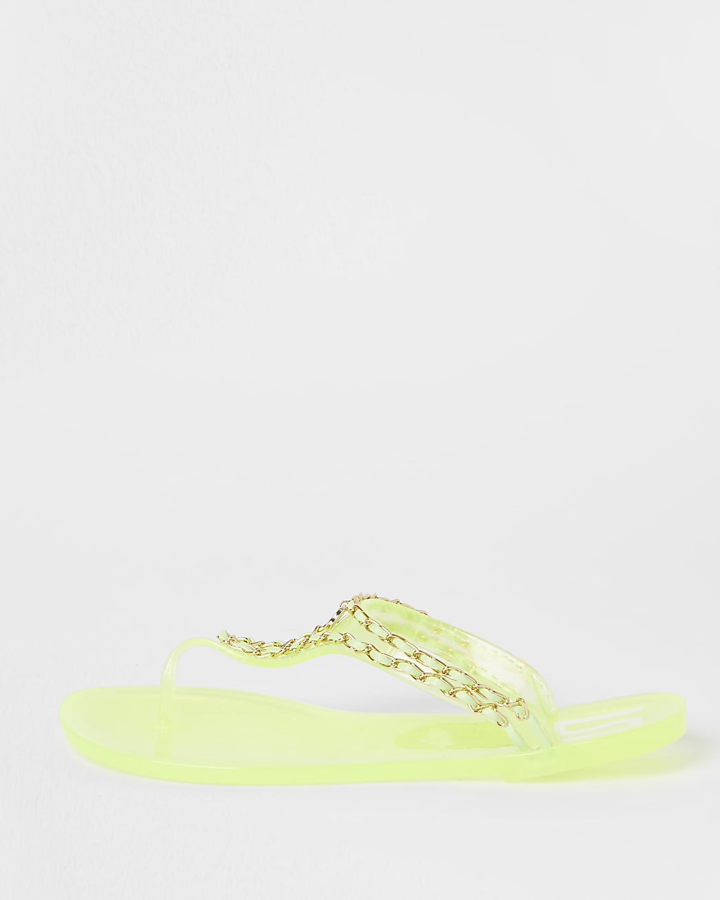 Yellow toe thong chain detail jelly sandals