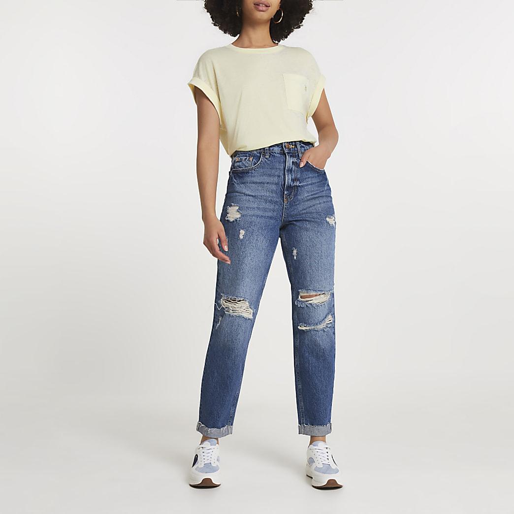 Yellow turnback sleeve chest pocket t-shirt