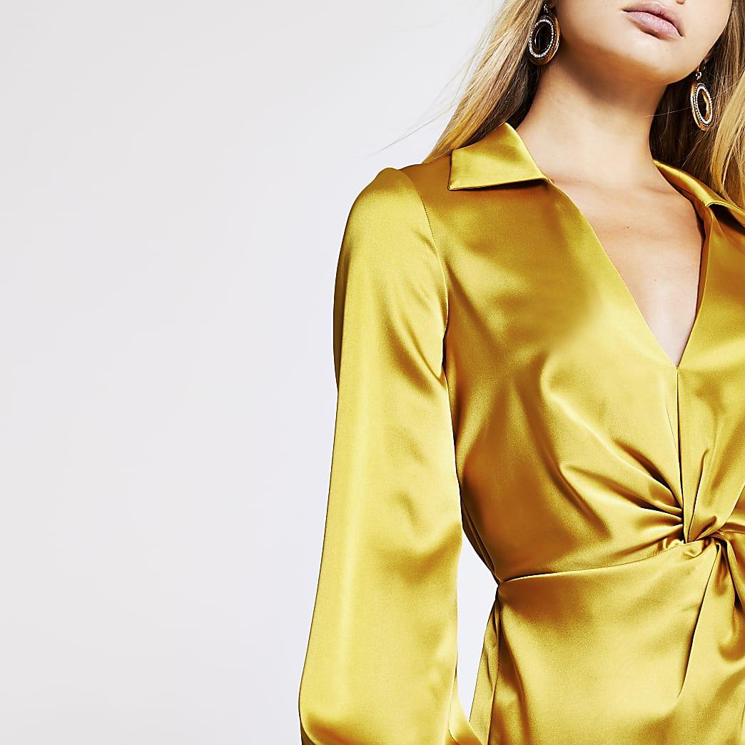 Yellow twist front shirt