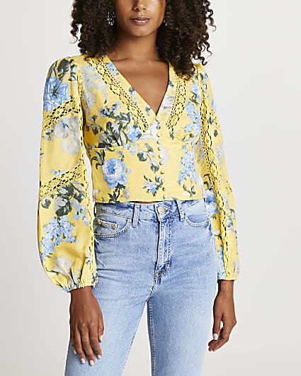 Yellow v neck floral lace trim corset top