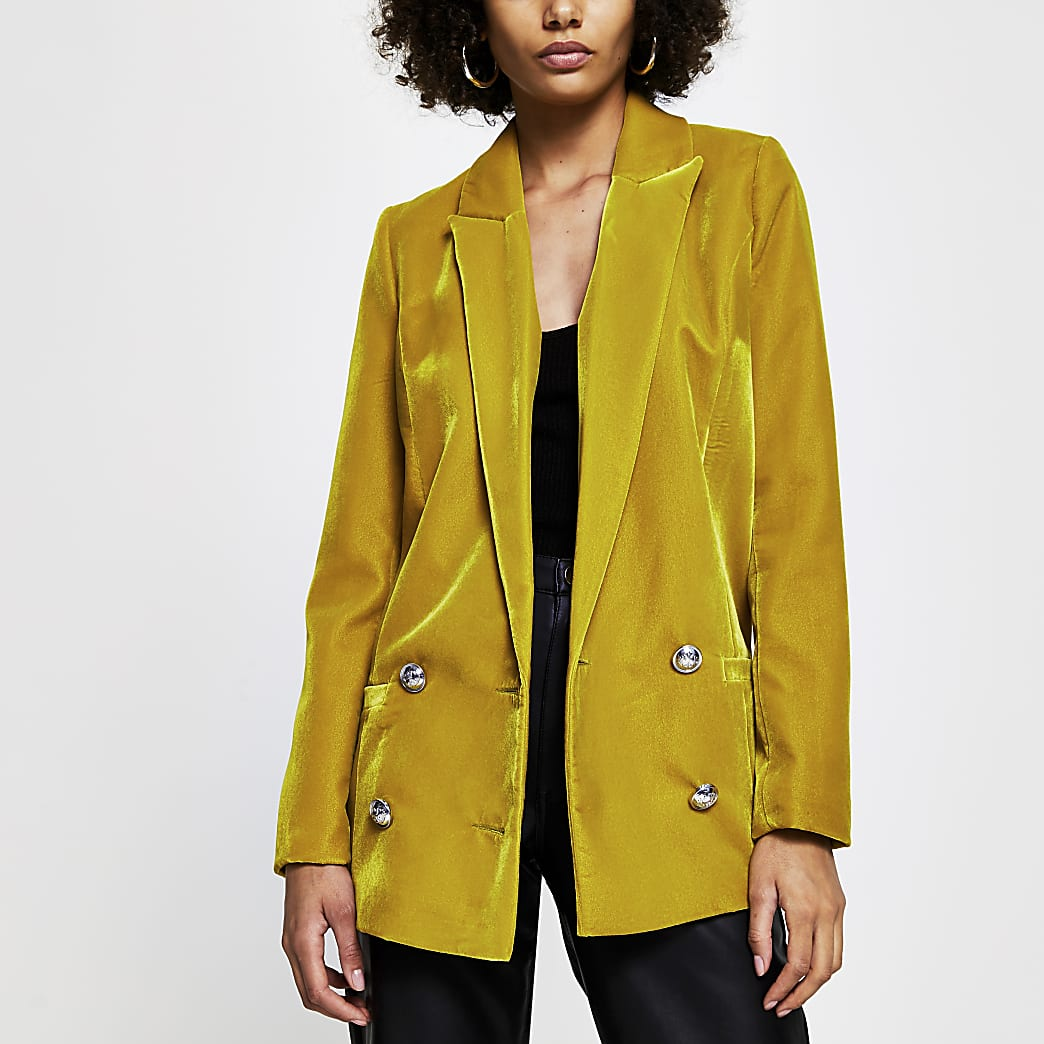 Yellow velvet double breasted blazer