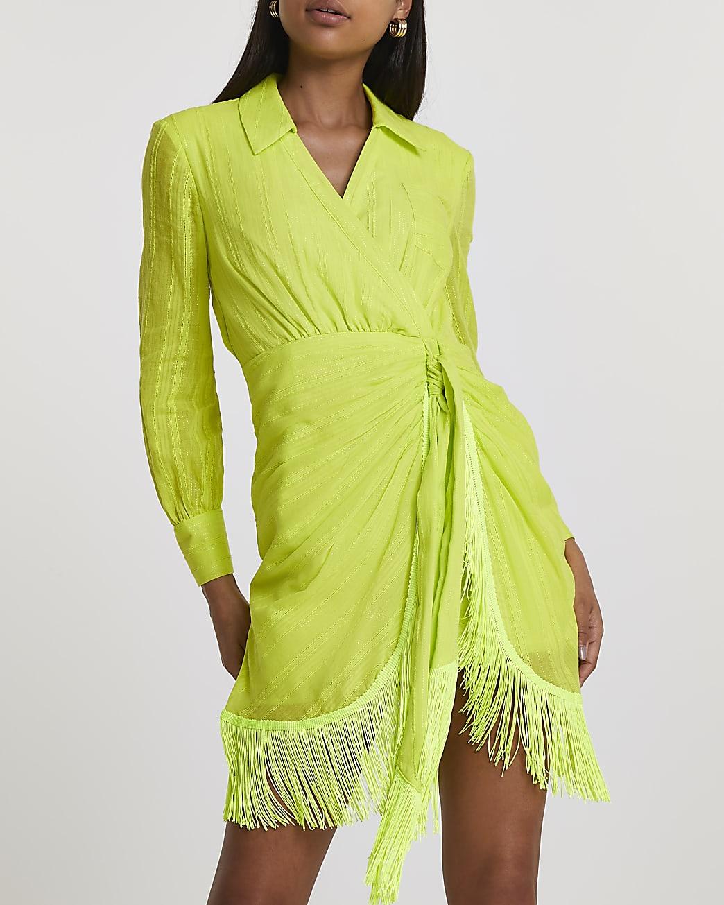 Yellow wrap fringe shirt mini dress